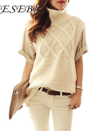 Women's turtleneck thick warm long knit sweaters pullovers female vest 2016 New fall winter lady top woman sleeveless sweater