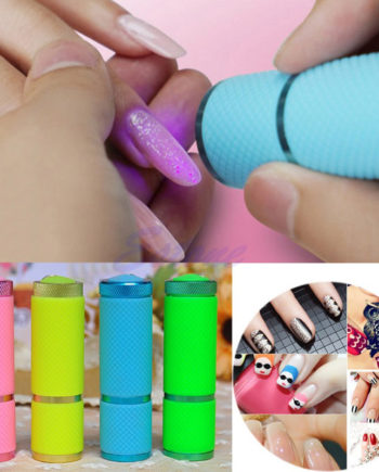 Mini UV Gel Curing Lamp Nail Dryer 9 LED Flashlight Currency Detector LED Aluminum Alloy AAA Battery M01295