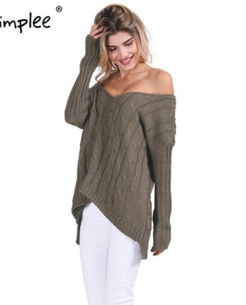 Simplee Autumn Criss cross top Backless knitted sweater women 2016 Oversized winter knitwear Loose jumpers white pullover