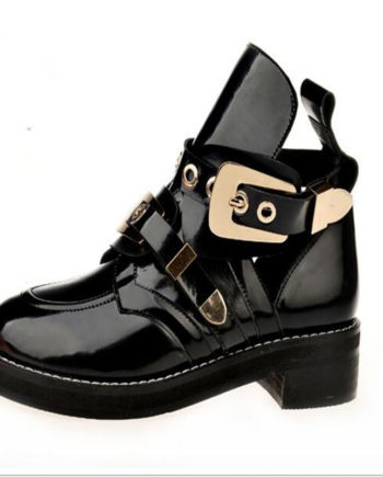 Summer Close Toe Women Ankle Boots Brand Desgin Hollow Out Patent Leather Metal Decoration Short Shoes Woman Cut Out Boots 2016