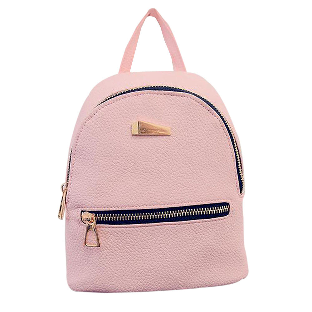 245ccde42e Women leather backpack Hit color feminine school bags for teenagers rucksack  Leisure knapsack backpacks travel 19cm