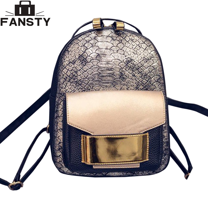 2bb85f7347 2016 New Snake PU Leather Women Backpack Female Fashion Rucksack Brand  Designer Ladies Back Bag High Quality School Bag - Ali Keeper
