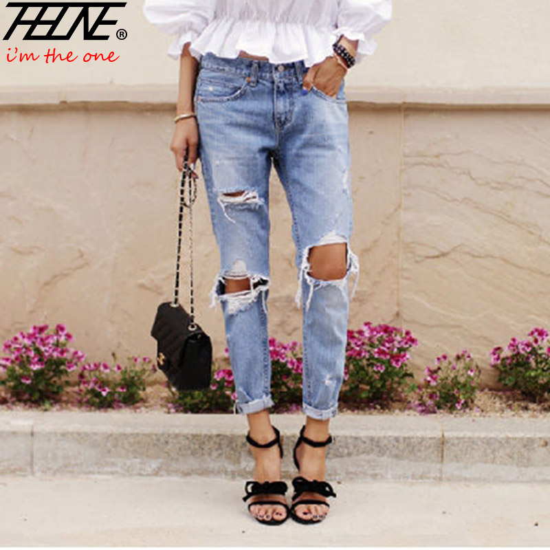 173786bd4ce Autumn New Fashion Cotton Jeans Women Loose Low Waist Washed Vintage Big Hole  Ripped Long Denim Pencil Pants - Ali Keeper