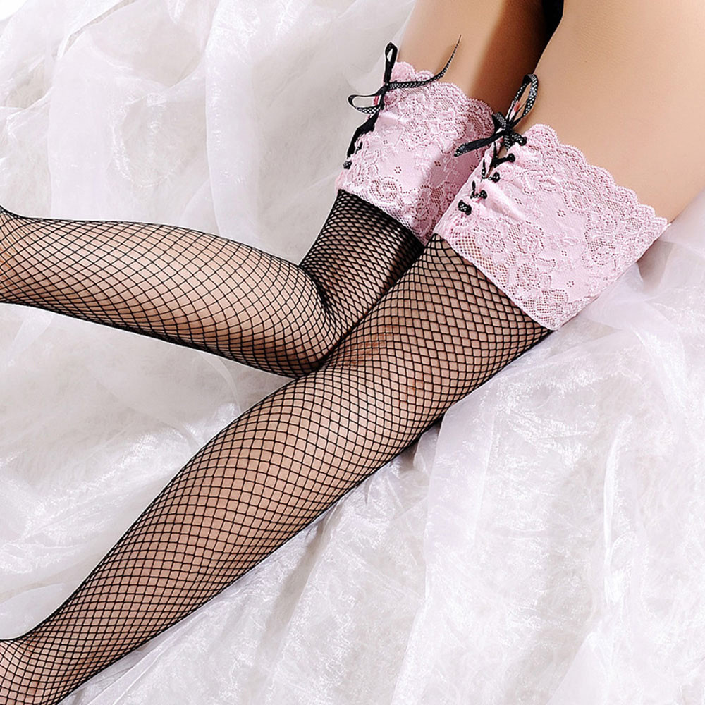 Women's Sexy Fishnet Stocking Sheer Lace Top Thigh High ...