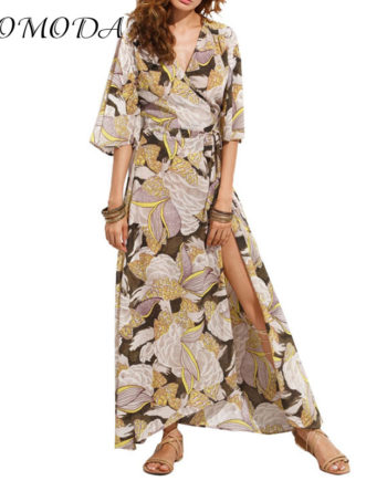 DOMODA Floral Printed Maxi Dress Women Loose Wrap Tie Waist Casual Summer Dresses Long Ladies Butterfly Vestidos Robe Female