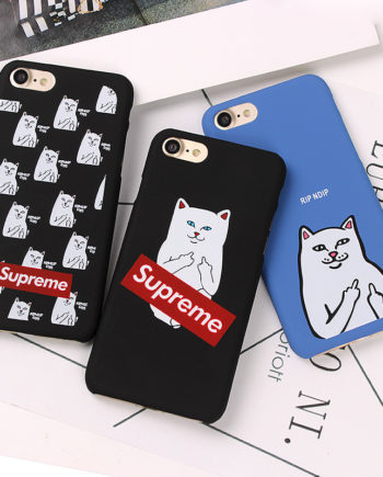 Cartoon Middle Finger Cat Scrub PC Hard Case For iphone 7 Plus 6 6s 6 Plus Case Back Cover For iphone Fundas Coque