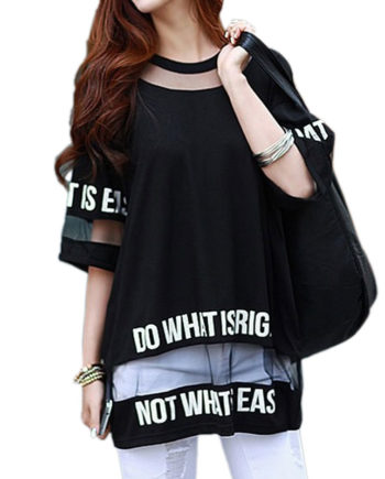 2017 Plus Size T Shirt Women Summer Tops Half Sleeve Fashion Hollow Out Letter Printed Long Mesh Tops Female T-Shirt Tees