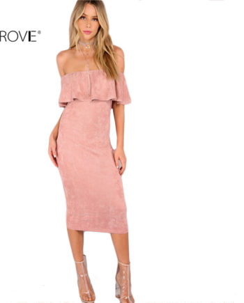 COLROVIE Woman Party dresses Elegant Evening Sexy Club Dresses New Arrival Pink Faux Suede Off The Shoulder Ruffle Dress
