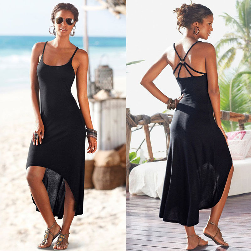 7437eb9b214 2016 New Women Summer Party Long Dress Beach Dresses Sundress No-frills  Black Suspenders Sexy Dress - Ali Keeper