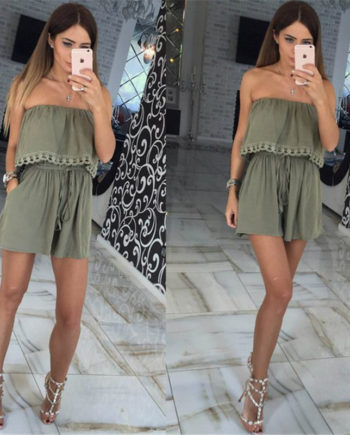 2017 Summer women Jumpsuits leisure sexy strapless chest wrapped piece shorts Fashion rompers Women jumpsuit Solid Playsuits