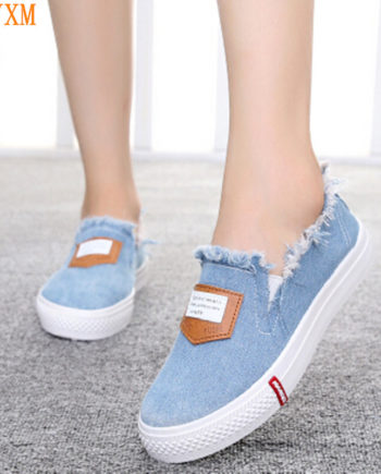 HEVXM 2017 autumn new canvas shoes ladies Korean version of the tide stripe shallow mouth flat shoes women's foot cloth shoes